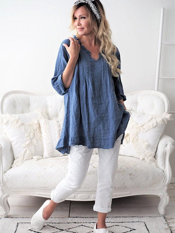 Ruffled V-neck Long Sleeve Blouses&Shirts