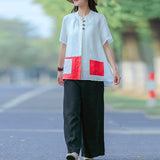 Cotton Literary Summer Cardigan Short Sleeve Shirt