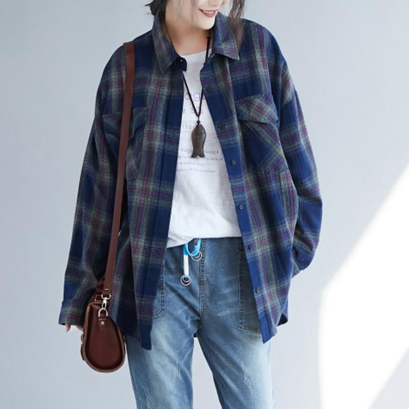 Women Casual High Low Pocket Plaid Loose Shirt