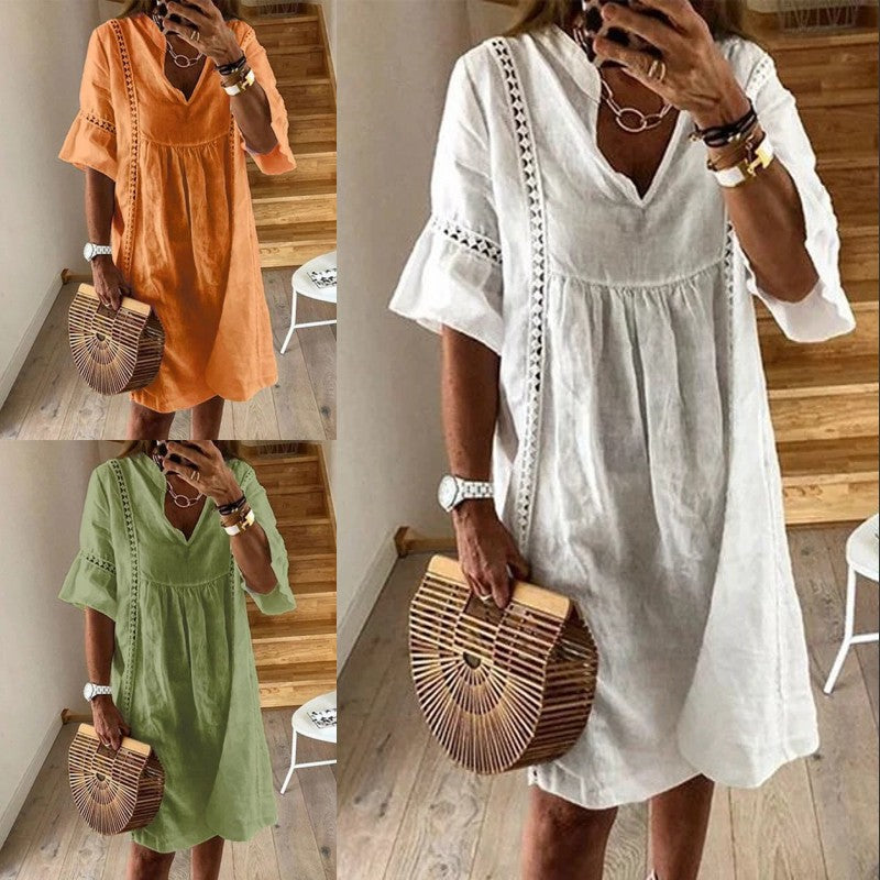 Casual Solid Color Midi Dress