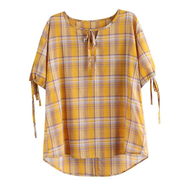Cotton Linen Half Sleeve Plaid Blouse