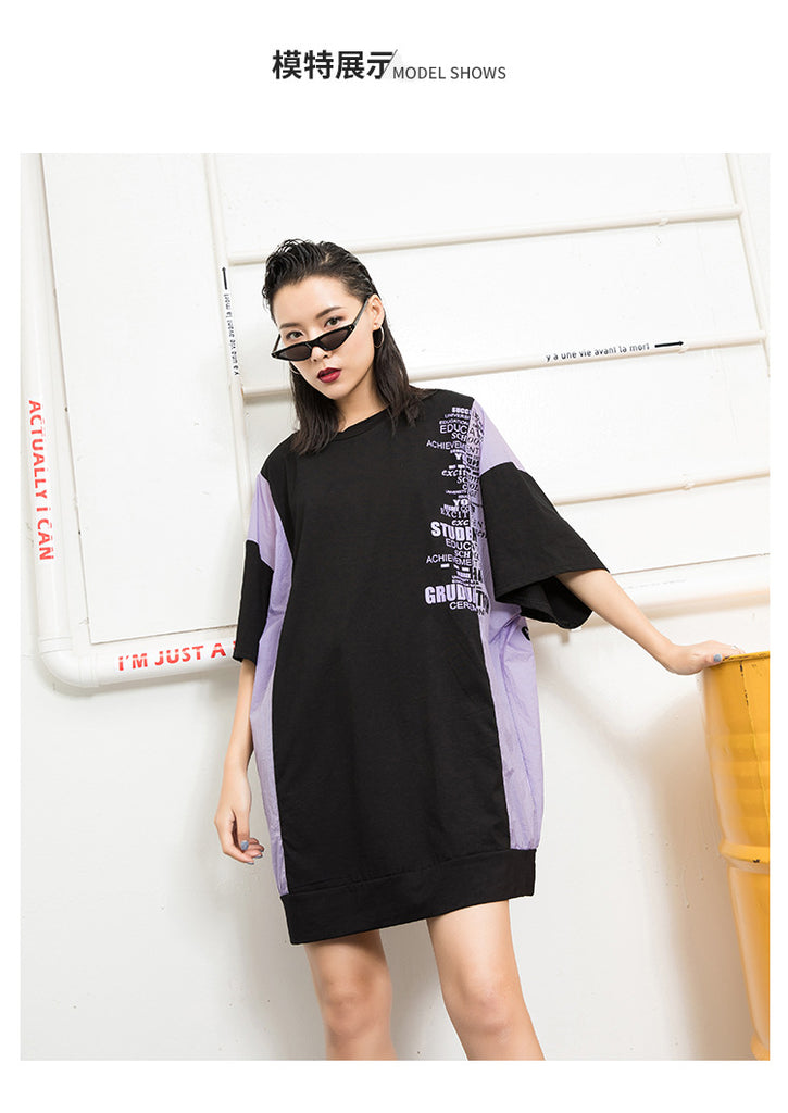 Dolman Sleeve Contrast Graphic Mini Dresses