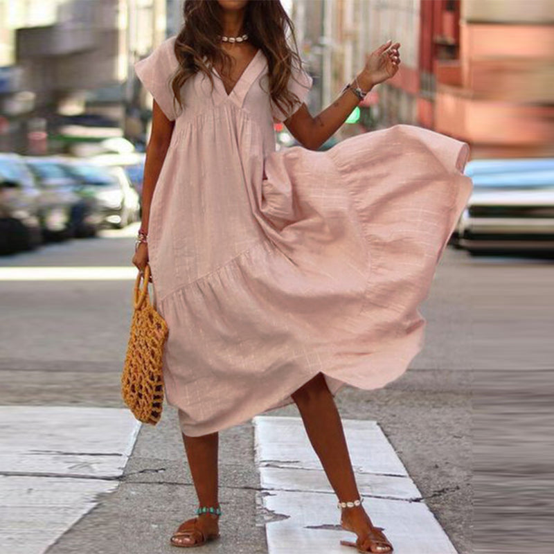Loose V-neck Irregular Cotton Linen Maxi Dress