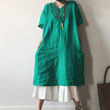 Summer Casual Loose V-Neck Embroidery Dress
