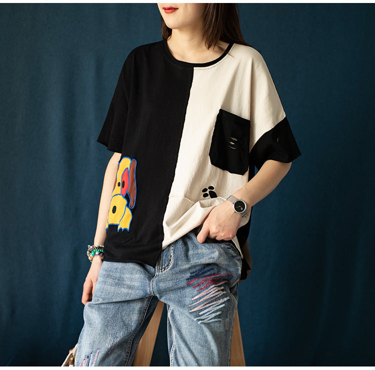 Pullover Short-Sleeved T-Shirt Loose Bottoming Shirt