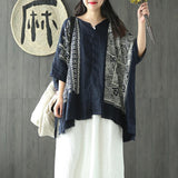 Cotton Linen Print Batwing Sleeve Blouse