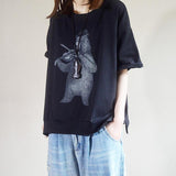 Cartoon Bear Print Loose Cotton T-Shirt