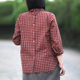 Vintage Rear Single Breasted Design Plaid Shirt