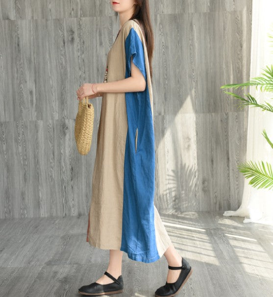 Colorblock Loose Lace Short-Sleeved Linen Dress