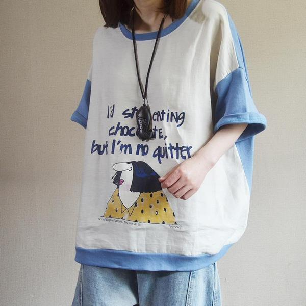 Cartoon And Letter Printed Spliced T-Shirt