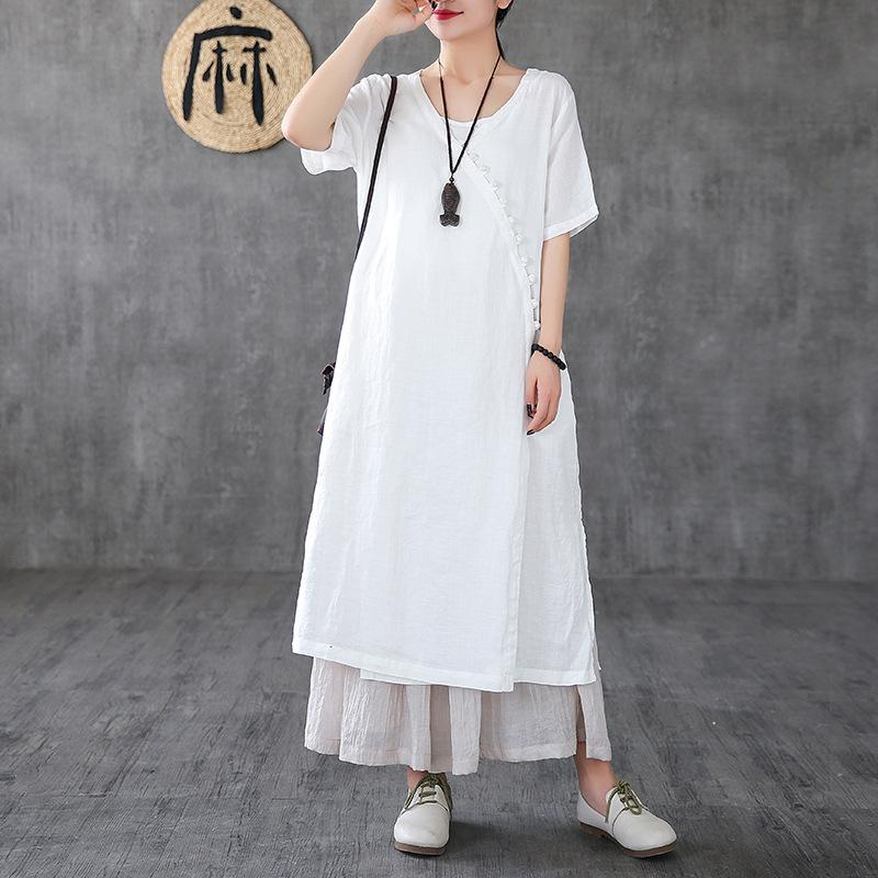 Ramie Solid A-Line Short Sleeve Dress