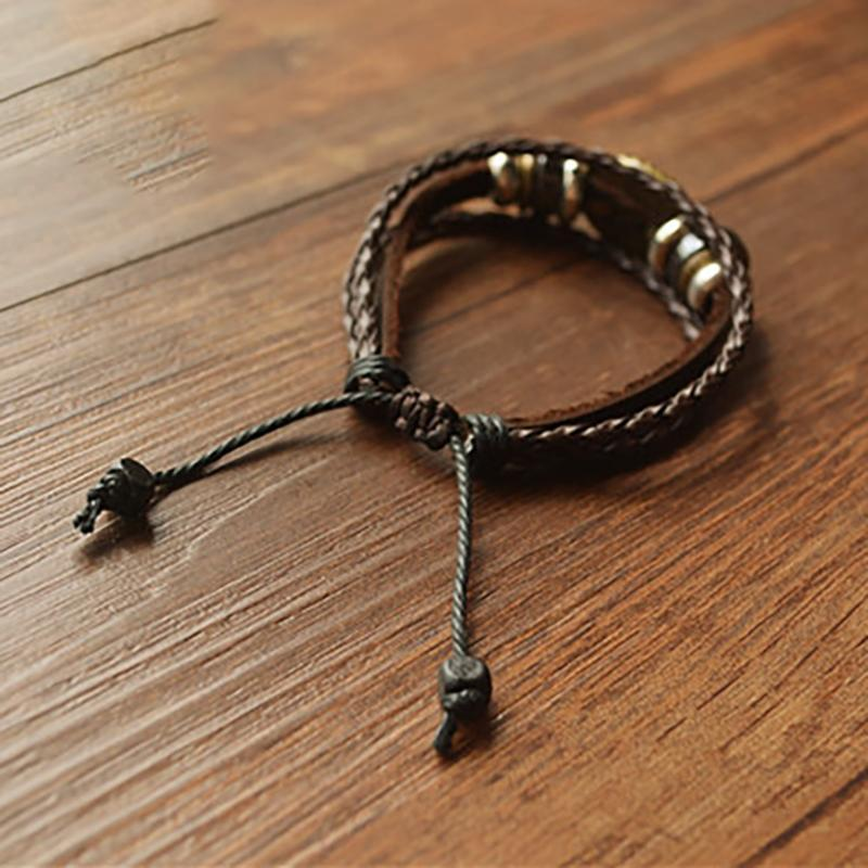 Acylic Multilayer Leather Rope Bracelet