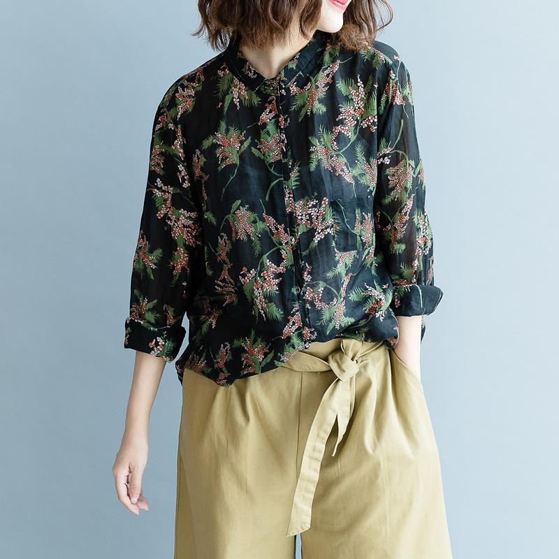 Vintage Floral Print Casual Long Sleeve Shirt