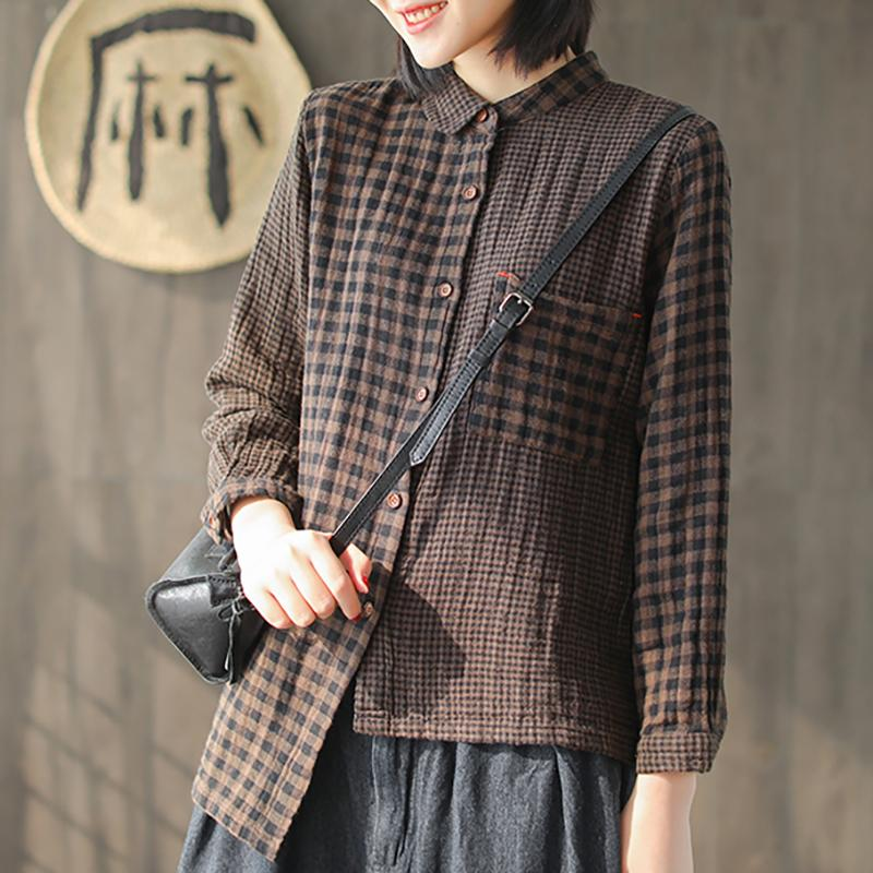 Double Layer Cotton Plaid Splicing Shirt