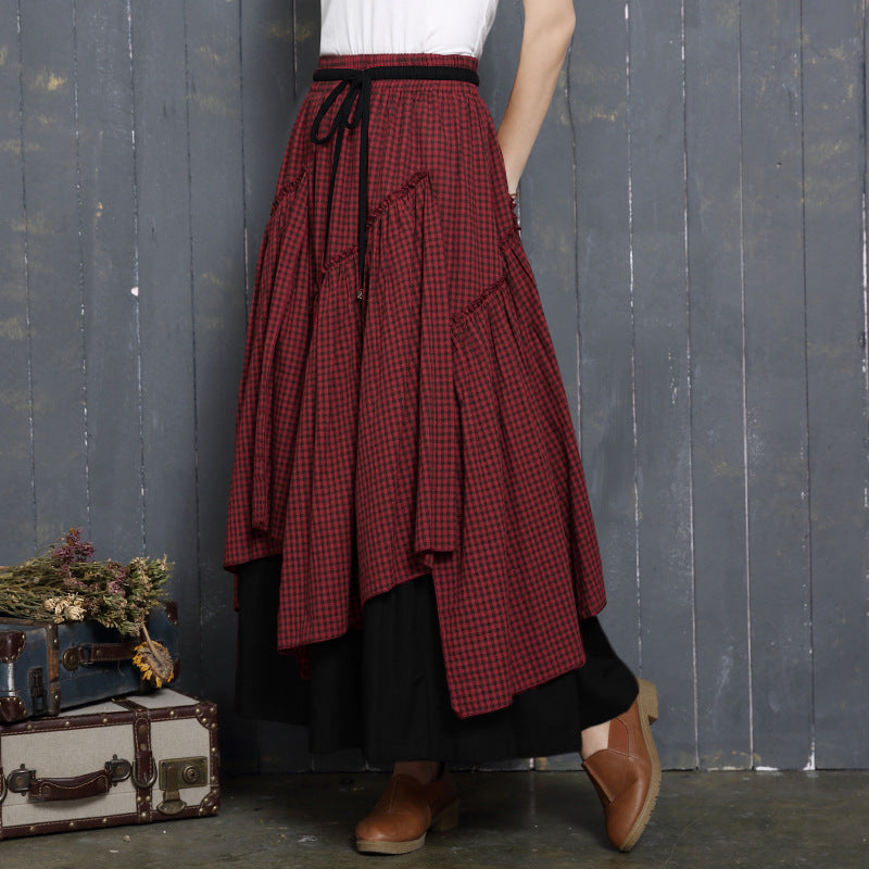 Ethnic Style Skirt High Waist Plaid Irregular Large Swing Skirt