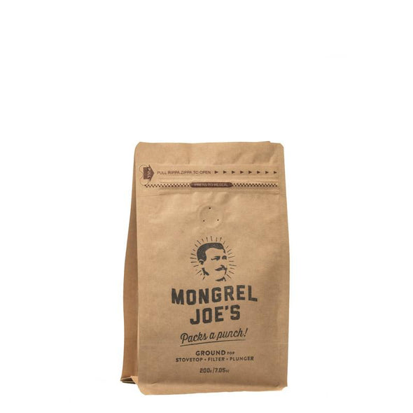 Closed bag of 200gr coffee ground for Plunger or Filter coffee.