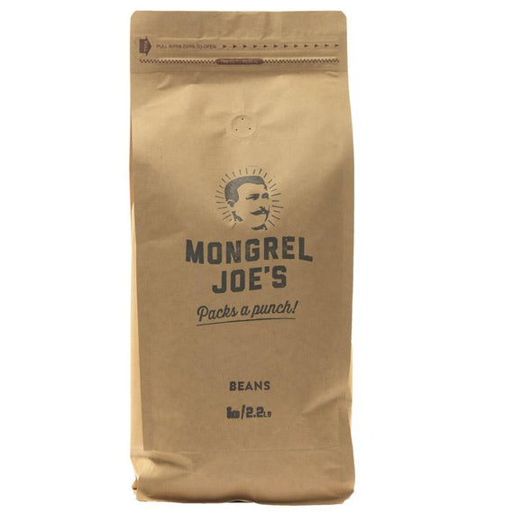Closed bag of 1kg coffee ground for plunger (French press).