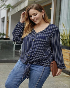 Blue Stripe Blouse V Neck