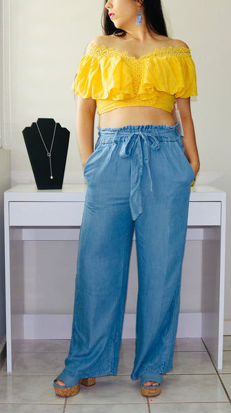 Wide-Leg Lyocell Pants