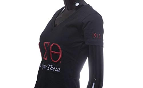 Delta Sigma Theta 3D Embroidered Signature T-Shirt Black