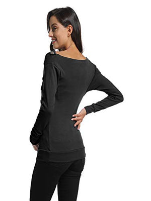 BlackCherry Women's Long Sleeve Cowl Neck Buttons Maternity Pregnancy Tunic Top T-Shirt