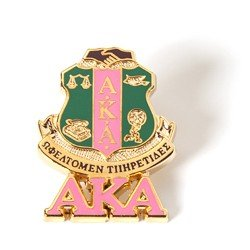 Alpha Kappa Alpha Sorority (AKA) 3D Color Shield Pin w/letters