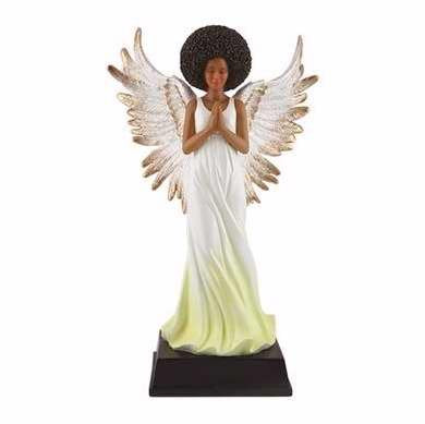 "Golden Angel Figurine (6"" x 4"" x 9"") White"