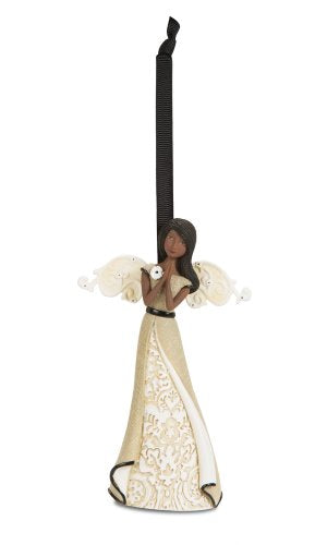 Praying Ebony Angel Figurine, 4-1/2-Inch