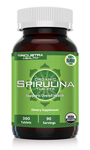 Organic Spirulina: 360 Tablets - 4 Organic Certifications - Raw & Clean Certified - Vegan Farming Process, Non-Irraditated, Max Nutrient Density