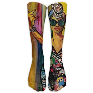 Comfortable Personalized Knee Socks African American Black Women Painting Art Print Trekking for Women Teens Girls Unisex Perfect...