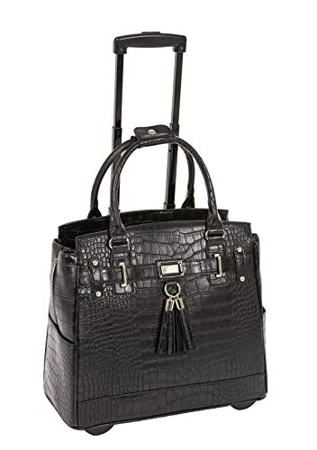 """Timeless"" Black Alligator Crocodile Rolling iPad Tablet or Laptop Tote Carryall Bag"