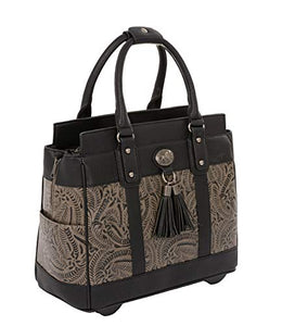 """The Dallas"" Black & Grey Tooled Rolling iPad Tablet or Laptop Tote Carryall Bag"
