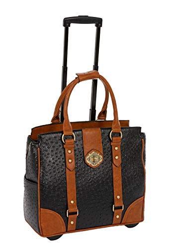 A-List Ostrich Computer iPad, Laptop Tablet Rolling Tote Bag Briefcase Carryall Bag