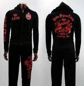 Womens Black Velour Delta Sigma Theta Hooded Track Suit: Sports & Outdoors