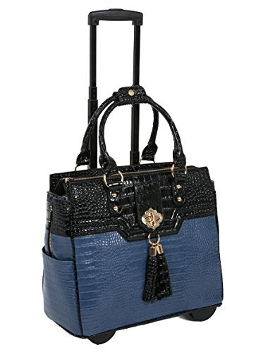 """The Oceanside"" Blue & Black Alligator Faux Leather Computer iPad, Laptop Tablet Rolling Tote Bag Briefcase Carryall Bag"