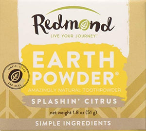 REDMOND Earthpowder - All Natural Tooth and Gum Powder Bentonite Clay, Vegan Organic Non-Fluoride Non GMO Real Ingredients Toothpaste, Citrus (1.8 ounce jar): Grocery & Gourmet Food