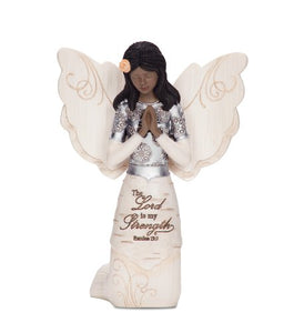 Prayer Collectible Figurine, Ebony Kneeling and Praying Angel, 5-1/2-Inch