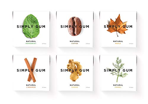 Simply Gum | Chewing Gum | Variety Pack - Mint, Cinnamon, Ginger, Fennel, Maple, Coffee | Vegan + non GMO | 15 Pieces per Pack (Pack of 6) : Grocery & Gourmet Foo