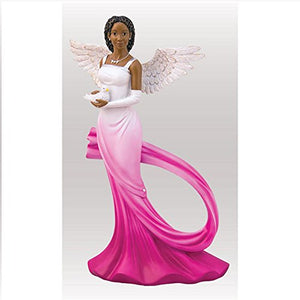 Sash Angel in Fuchsia African American Angel Statue 11.75 inches