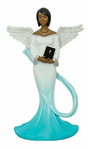 Sash Angel in Cyan African American Angel Statue