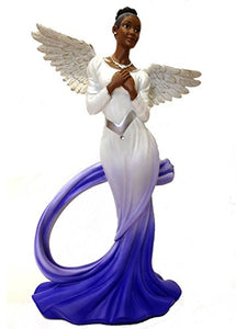 Ebony Treasures Sash Angel in Blue African American Angel Statue white/blue/silver/brown 11.75 inches