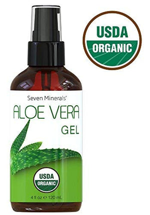 #1 USDA Organic Aloe Vera Gel - NO Preservatives - FRESHLY Made USA Grown 100% Pure Aloe Vera, With No Toxic Chemicals, FREE of GMO - For Healthy Skin, Hair, And After Sun Relief - 4 fl oz
