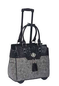 The Savannah Gray & Black Alligator Faux Leather Compatible with Computer iPad, Laptop Tablet Rolling Tote Bag Briefcase Carryall Bag