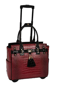 THE WESTLAKE Burgundy Red & Black Alligator Compatible With Computer iPad, Laptop Tablet Rolling Tote Bag Briefcase Carryall Bag