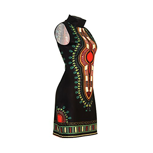 Women's Traditional African Print Dashiki Bodycon Sleeveless High Collar Dress