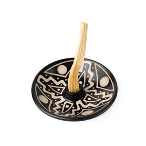 African Palo Santo Holder Authentic Chulucanas Peru Pottery (Black and White) 5 Palo Santo Sticks Included: Home & Kitchen