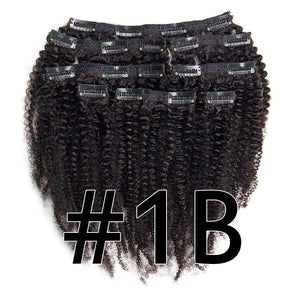 4B 4C Mongolian Afro Kinky Curly Clip In Human Hair Extensions 8 Pcs/Set Clips 100% Human Natural Hair Dream Queen Remy Hair