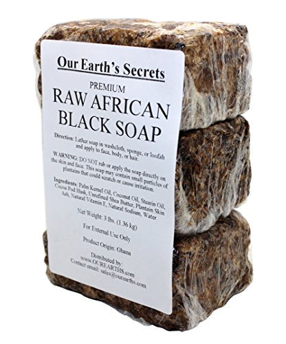 Our Earth's Secrets Premium Natural Raw African Black Soap, 3 Lbs