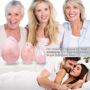 Yoni Eggs,Mimosa Rose Quartz Kegel Eggs Set,Yoni Massage Stick,Drilled for All Level of Users for Yoni Massage,PC Muscles Training,or as Display or Decoration or Gift