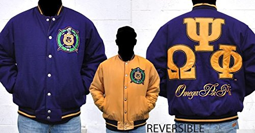 Mens Omega PSI PHI Botton - Up Embroidered Reversible Jacket Size M